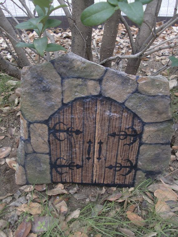 DOORS of PERCEPTION - hand painted castle doors on flagstone - natural art