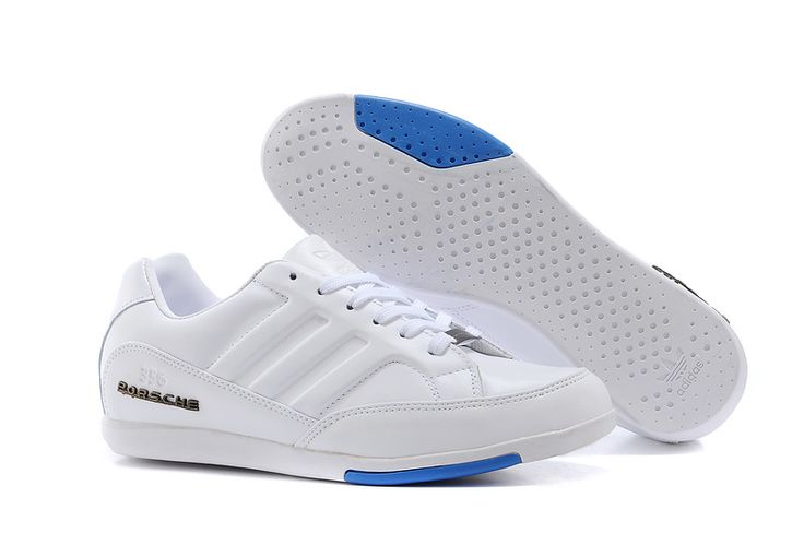 Nice 2014 New Adidas Porsche Design 356 Men Full Head Layer Nappa Leather Racing shoes in White Blue In U, Low Price