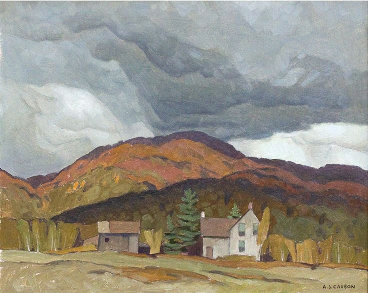 """""""Farm at Birds Creek,"""" A.J. Casson, 1965, oil on panel, 12 x 15"""", private collection."""