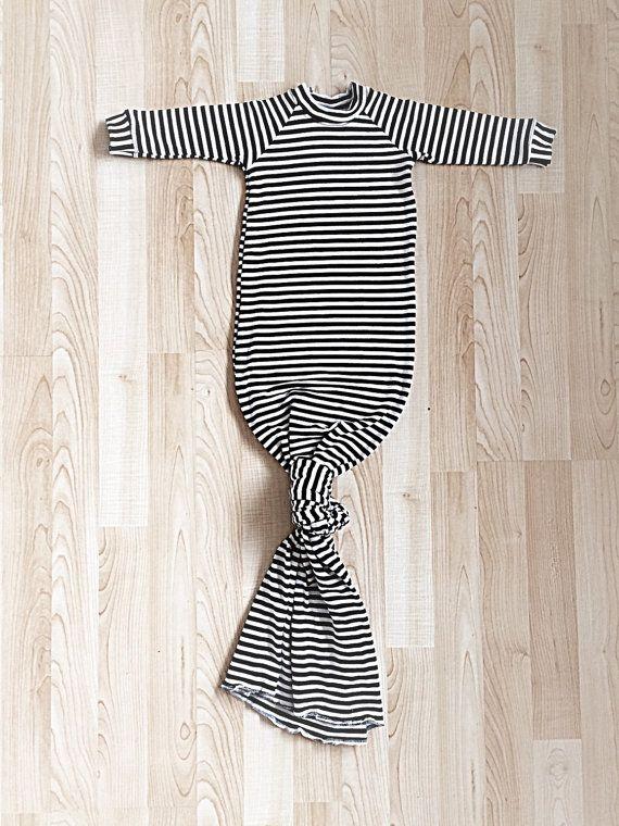 Gender Neutral Black & White Striped Newborn Knotted by LilRhinos