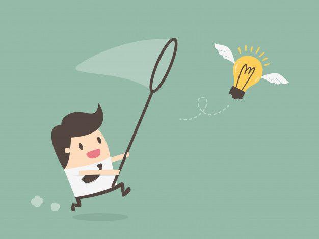 Businessman Chasing Flying Light Bulb | Poster background design, Graphic  design background templates, Character flat design