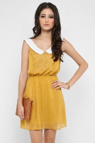 Peter Pleated Polka Dress in Mustard