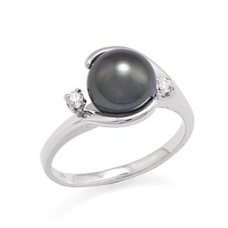 Tahitian Black Pearl Ring with Diamonds in 14K White Gold (8-9mm)