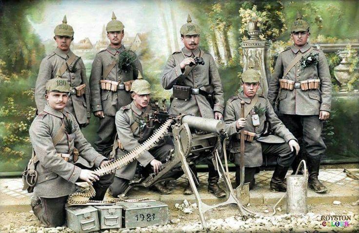 1914 Team with their Spandau MG 08. Cal. 7.92