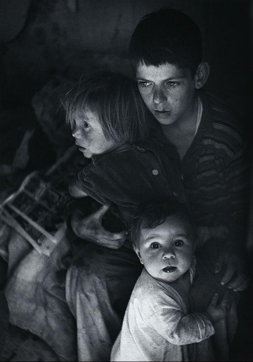 Ansel Adams     Trailer Camp Children, Richmond, California c.1936 & Small Valley Town California