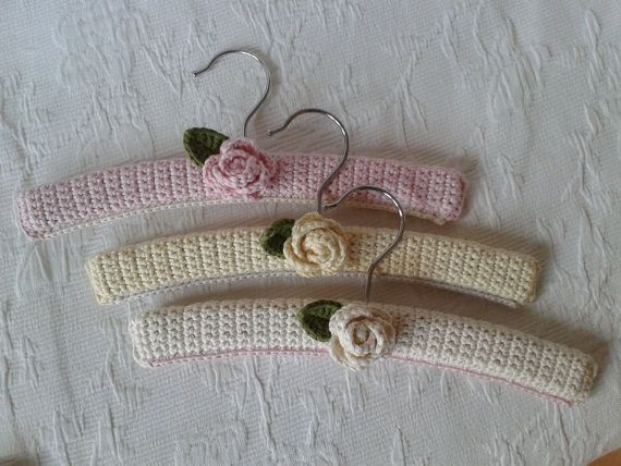 Set of three (3) shabby chique crochet baby hangers from Organic cotton on Etsy, $14.99
