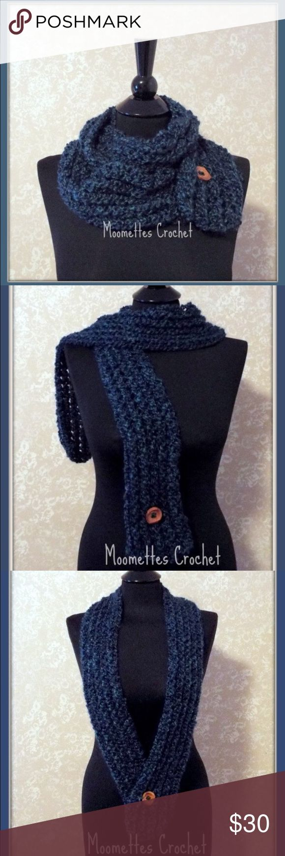 NEW Handmade Infinity Scarf Blue Wood Button NEW This is a Handmade Boho crochet infinity scarf.  Dark Blue. Adjustable cowl neckwarmer. Wood button.  Handmade crochet scarf. This long scarf is created with soft yarn in dark blue making it a stylish cool weather scarf for fall fashion, winter or spring.  Crochet Handmade in USA 🇺🇸 by me.    Beautiful Red Chestnut Brown Wooden Button (lead free)  approximately 50 inches long by 4 inches wide.  Machine Washable, Dry on gentle cycle. Do not…