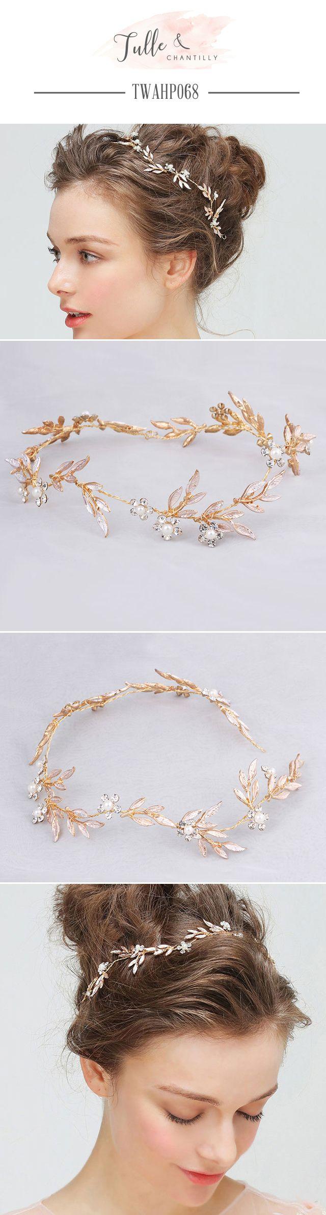 Wedding   Hairpieces Pearls leaves Rhinestones