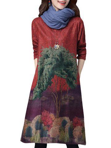 Retro Style Tree Printed Loose Elegant Long Sleeve Vintage Women Dress