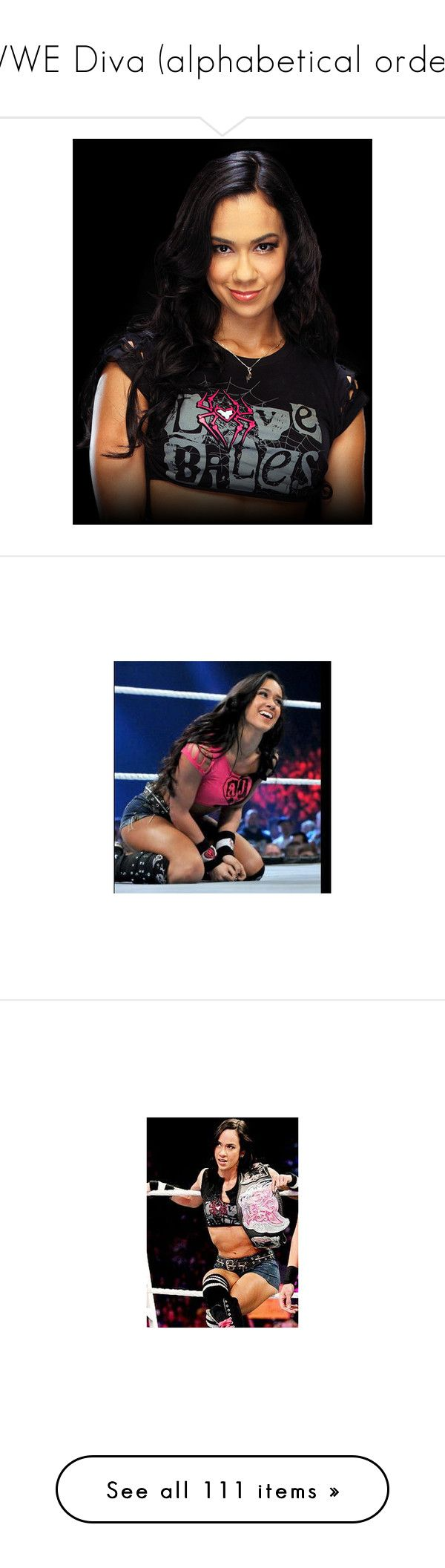 """WWE Diva (alphabetical order)"" by mrsromanreigns916 ❤ liked on Polyvore featuring wwe, aj lee, hair, people, divas, alicia fox, ashley massaro, wrestling attire, bayley and the bella twins"