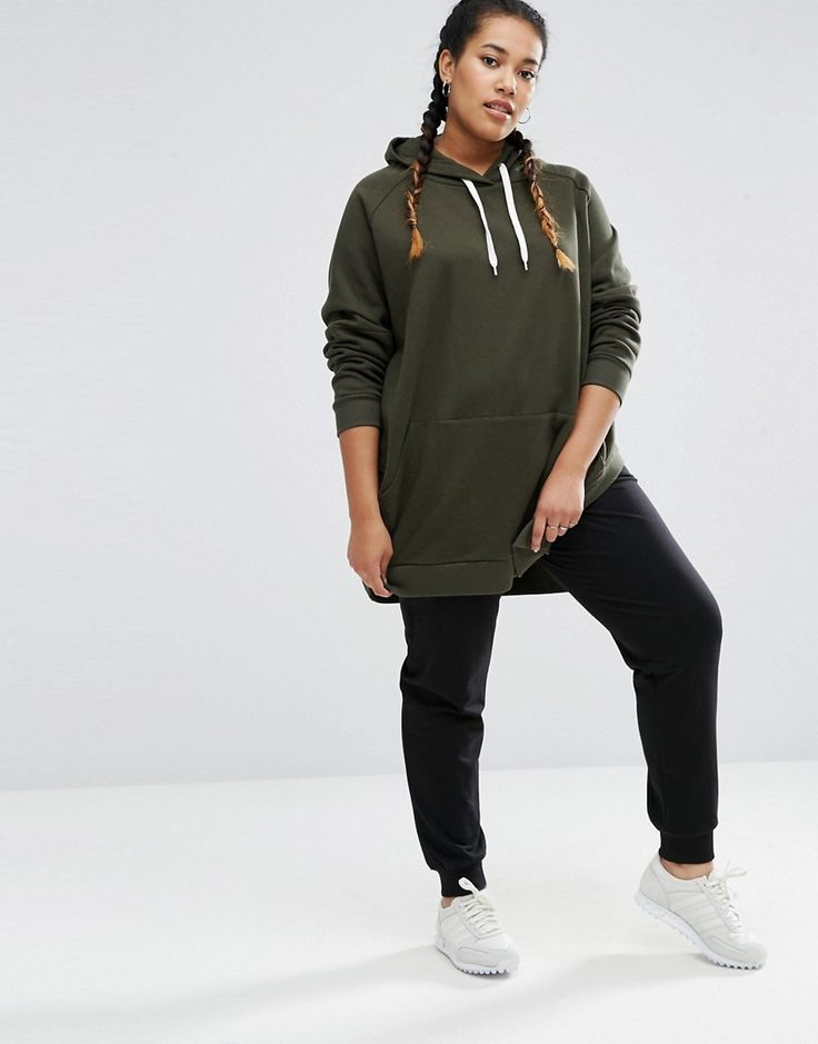 Image 4 of ASOS CURVE Hoodie in Oversized Fit with Side Splits