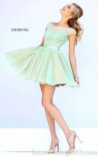 Green Sherri Hill 11267 Lace Short Homecoming Dress