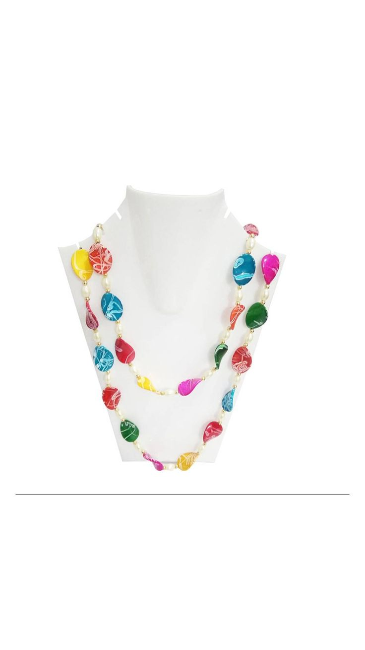 Traditional Handmade Long Multicolor Stone Necklace Set