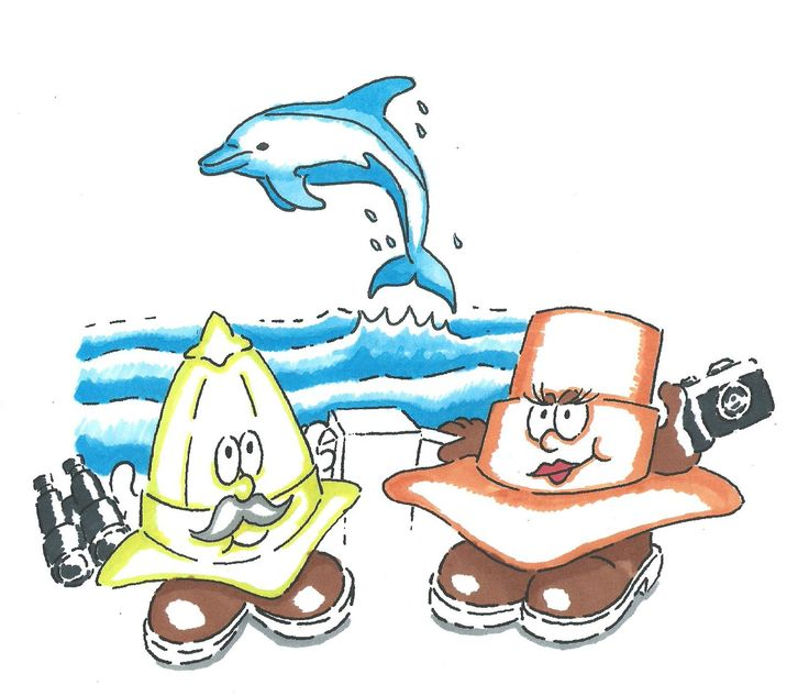 Explorers dolphin spotting at sea on the waves, cmaer and binoculars at the ready, Indy and Indiana Bones, boots and hats, children's characters