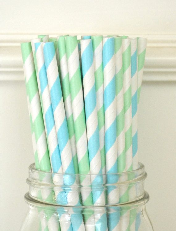 25 Light blue and Mint Paper Straws, Wedding Supplies, Birthday Party, baby Shower, Cake Pops, Supplies, Paper Goods