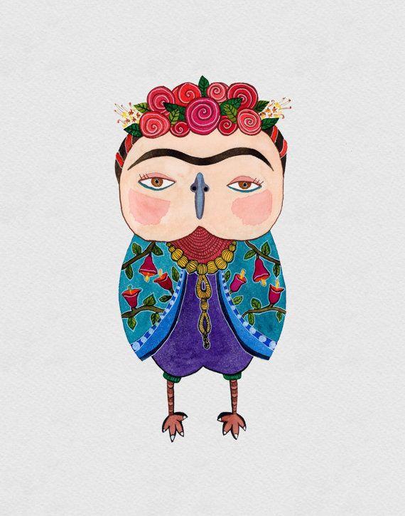 Frida Kahlo Owl Watercolor Art Print 8x10 inches por EveDevore