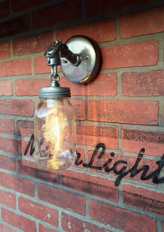Quart Ball Mason Jar Light Fixture Industrial Country