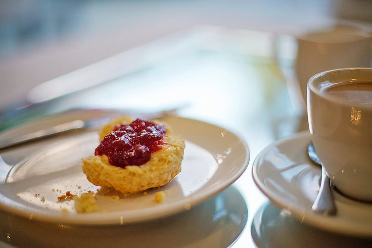 Tea time at The Last Word Constantia: Fresh English scones with butter, cream and strawberry jam.