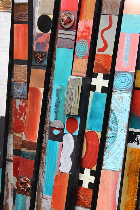 Black Cross over New Mexico Mini Soul Totems  Signature Lori Daniels Glazed Wood Block Collages 3 inches wide by varying heights. Buy one or many and collect this unique art for your walls.   Etsy Tin Expressions