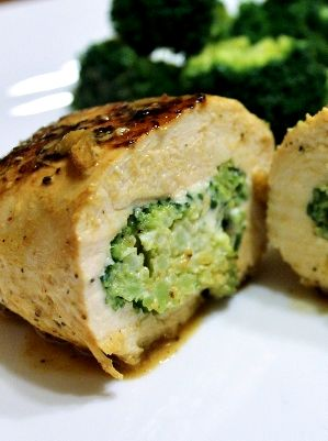 Light Broccoli Cheese Stuffed Chicken - I would probably use goat cheese in place of swiss!