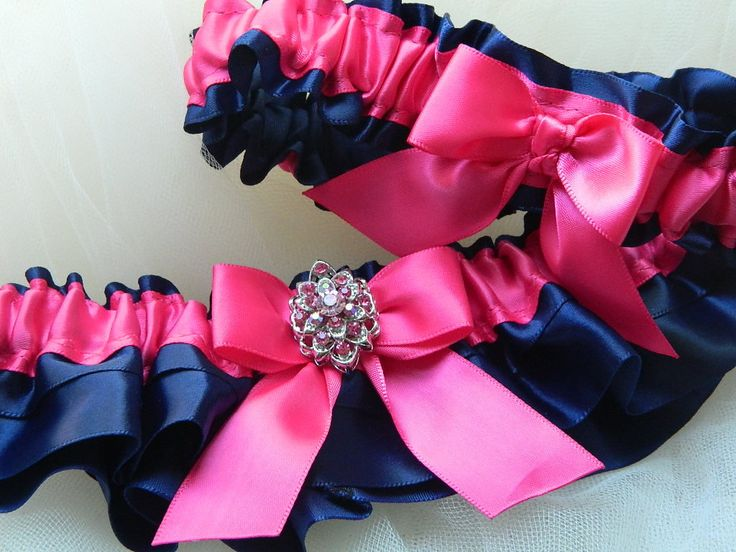Wedding garter set navy blue and hot pink satin with jewel. $32.00, via Etsy.