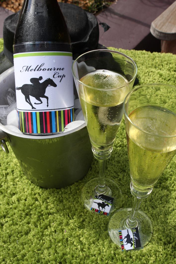 Melbourne Cup party printables - Wine bottle label and wine charms