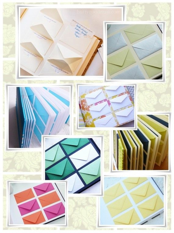 guest book idea: glue envelopes into a scrapbook and leave stationary so guests can write a note