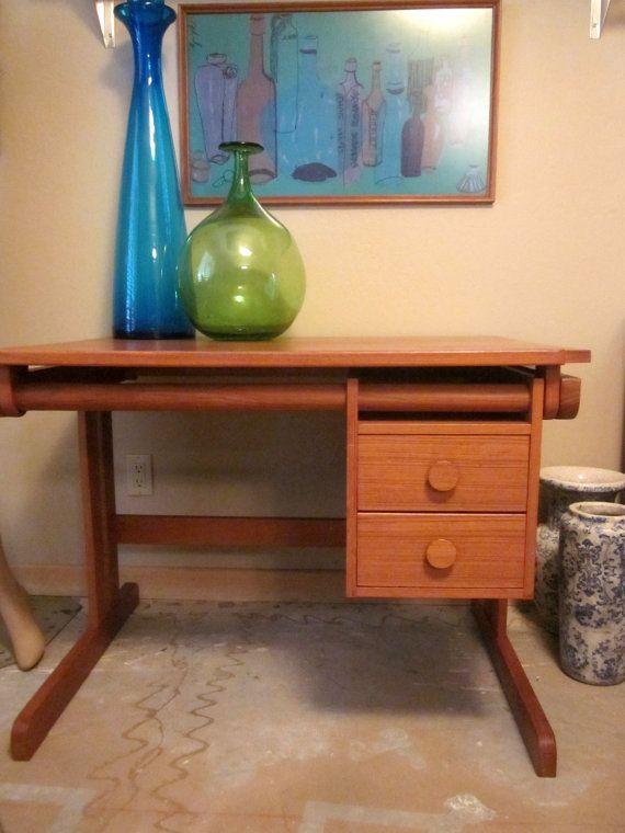 rare Danish Modern Teak Drafting Table Desk by welovelucite