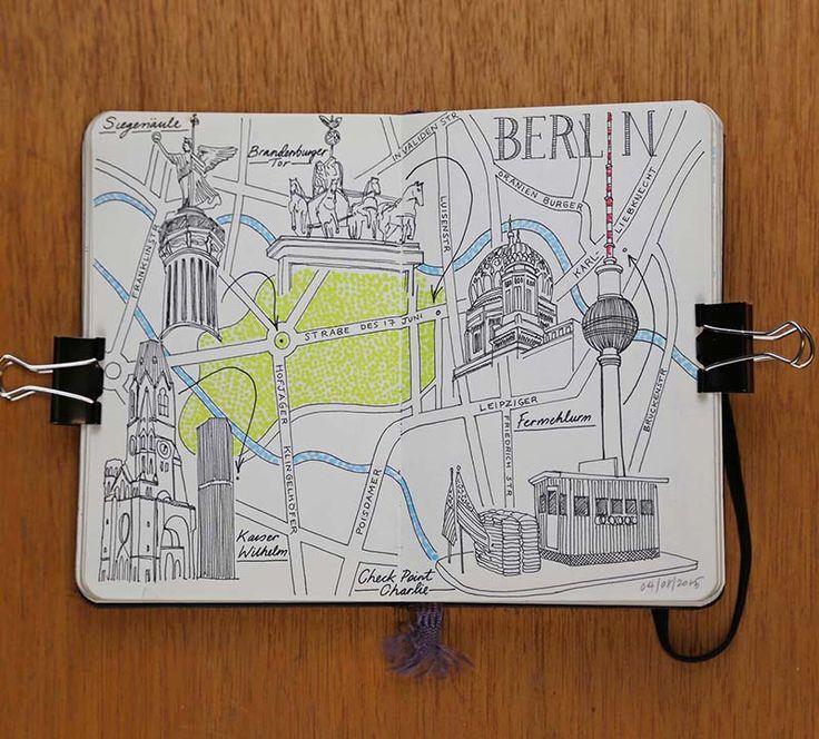 Moleskine European City Map Drawings jitesh patel