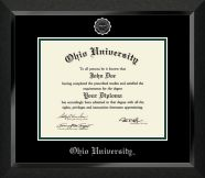 Ohio University Athens - Silver Embossed Diploma Frame in Eclipse with Black and Tartan Green Mats