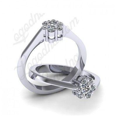 Inel de logodna din aur alb, cu diamante