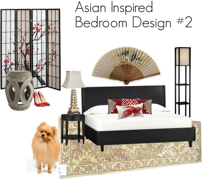 Asian Inspired Bedroom Design In Red And Beige With A Black Bed, Pagoda  Lamp,