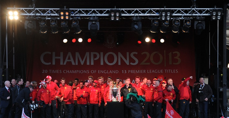 Celebrating on stage with the lads