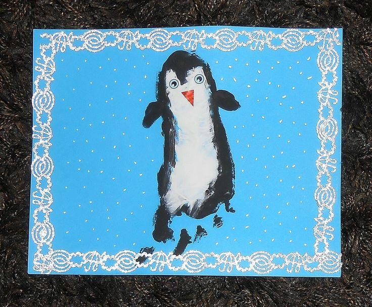 pingouin empreinte pied enfant activite manuelle peinture hiver facile simple bebe 1 diy. Black Bedroom Furniture Sets. Home Design Ideas