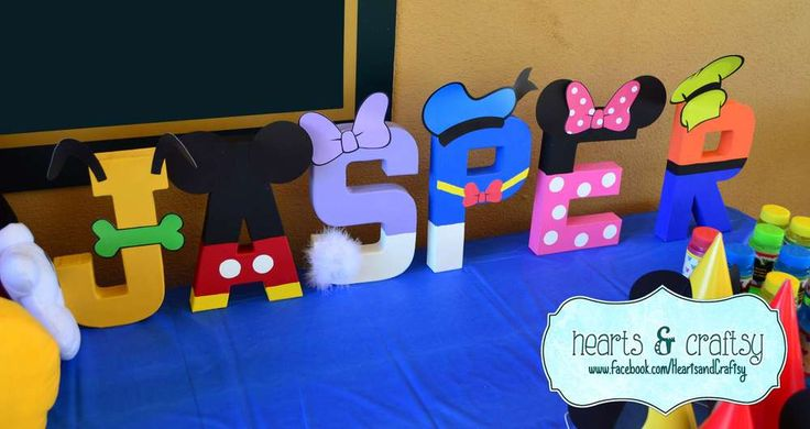 Character letters at a Mickey Mouse Clubhouse birthday party! See more party planning ideas at CatchMyParty.com!