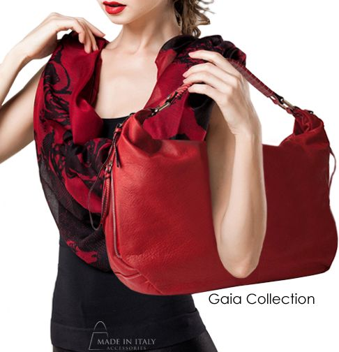 Gaia Collection | Red Leather Hobo Bags for Women | Made in Italy Accessories  https://madeinitalyaccessories.com/gaia-leather-hobo-bag-in-red