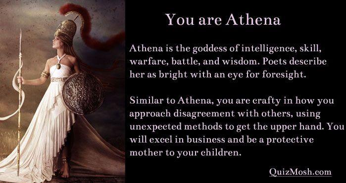 Jag tror att de flesta tjejer i dagens samhälle blir Athena. Roligt litet test :)