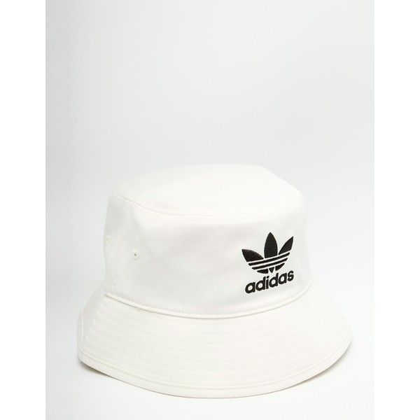 adidas Originals Bucket Hat ($29) ❤ liked on Polyvore featuring men's fashion, men's accessories, men's hats and white