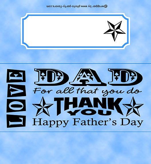 Fathers Day Free Printable Candy Bar Wrapper features a word art design, ready to personalize with your  message.