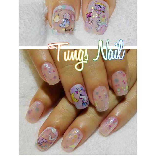 tungsnail#네일아트#네일#아트#젤네일#홍콩#led#uv#nail#nails#hknail#hk#gelnail#gel#gelart#美甲#香港#ジェルネイル#ネイル#soakoff#네일스타그램#라인아트#circus#giltter#bling#cute