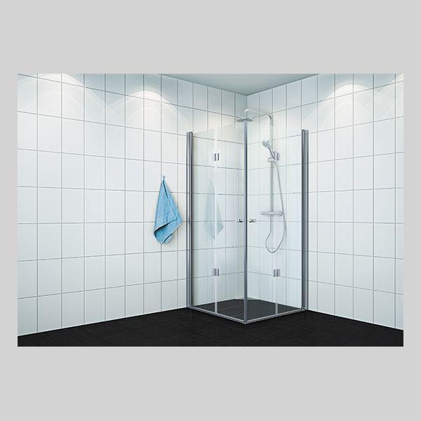 107608  6312739 VikingBad dushjørne leddet 80x100cm profiler, klart glass, 195cm / 5 590,-
