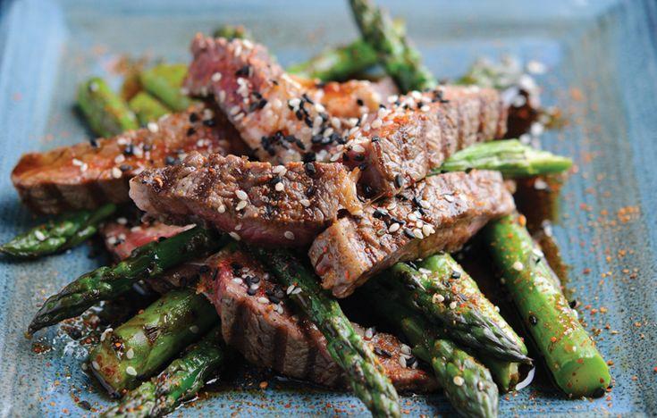 BBQ rib eye with grilled asparagus and teriyaki sauce