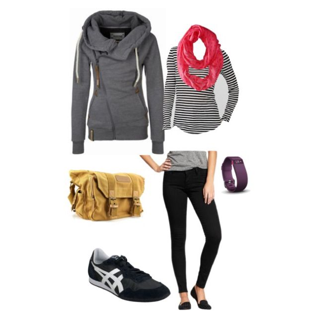 Long haul flight outfit. Rockstar stretch jeans, low profile sneakers, featherweight tee, bright scarf, naketano sweatshirt, bestek camera bag, Fitbit hr