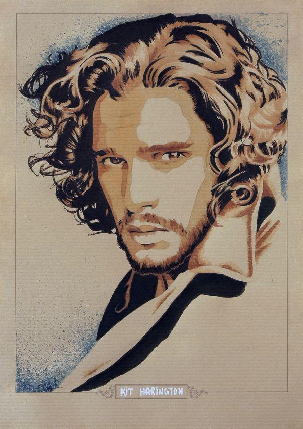 Finally ! New fan-art of Kit Harington a.k.a Jon Snow in Game Of Thrones  Kraft Paper Marker - Watercolor - Black Pen - China Ink