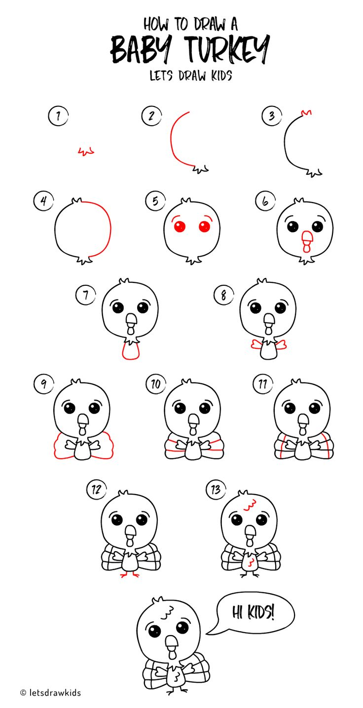 If you're interested in showing your kid a tutorial on how to draw fruit for kids, but of the more complex variety, you can go with this. How to draw a Baby Turkey. Easy drawing, step by step ...