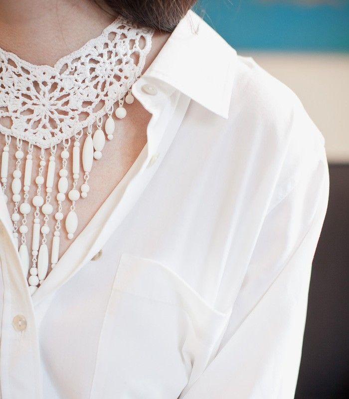Jean Paul Gaultier  White Crochet Necklace