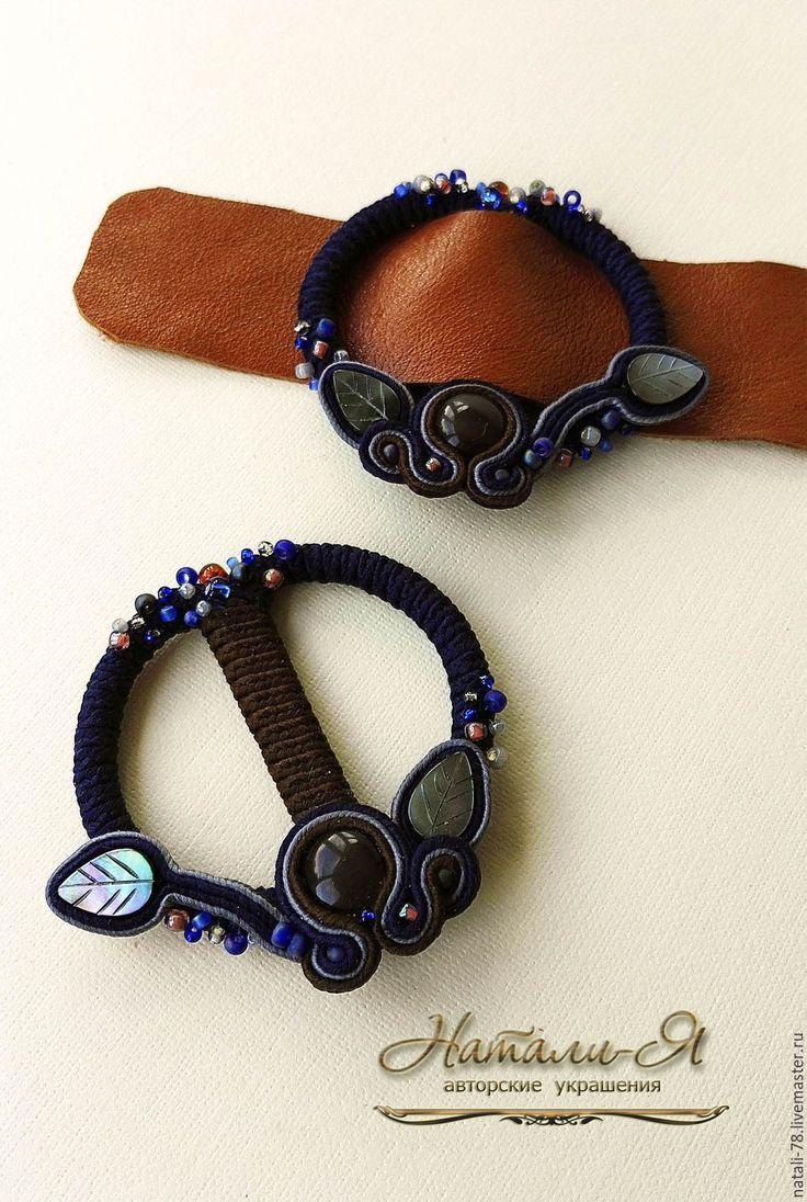 Купить Пряжки сутажные (синий, коричневый) - коричневый, синий, сине-коричневый, пряжки, пряжки для обуви