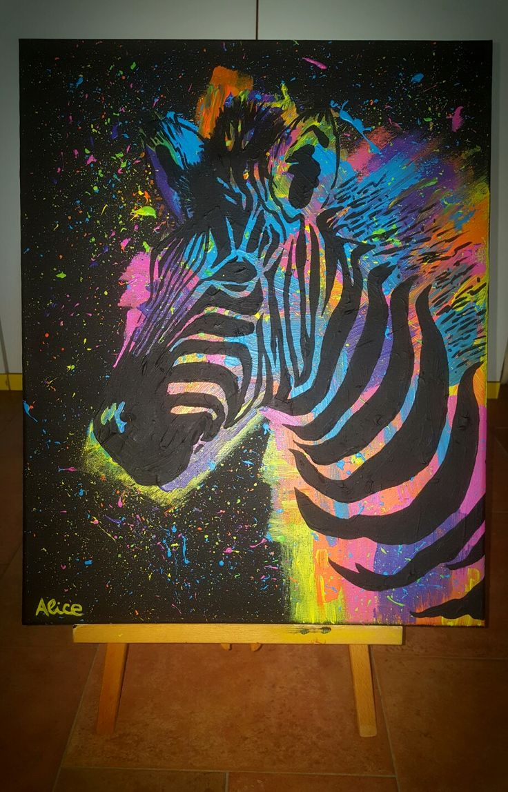 Acrilico su tela. #zebra #abstract #colorfull