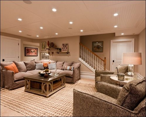 Basement- love that coffee table!