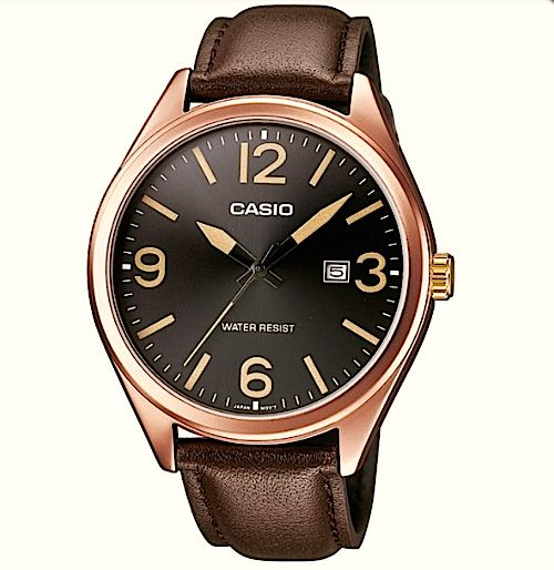montre casio vintage bracelet cuir boitier cuivr montre femme montre homme effet. Black Bedroom Furniture Sets. Home Design Ideas
